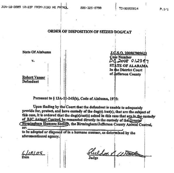 Order of Disposition of Seized Dog_Cat