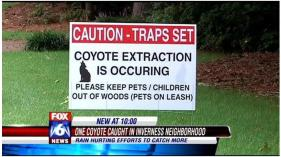 Coyote Trapping Sign Inverness 2013