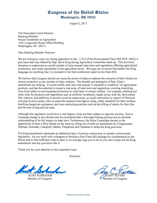 Letter Opposing Farm Bill Amendment Targeting State Animal Welfare Laws-page-0